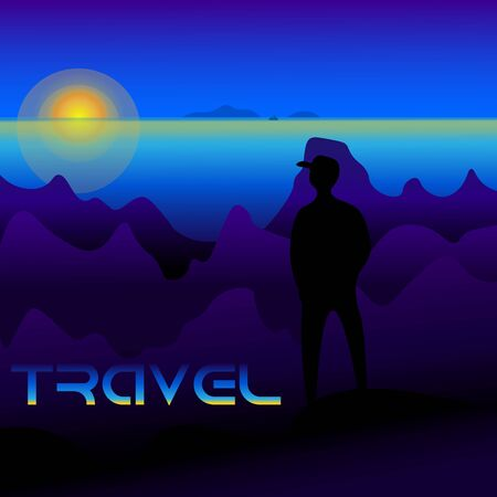 illustration of a travel with a human figure on the background of a sea of mountains and the sun