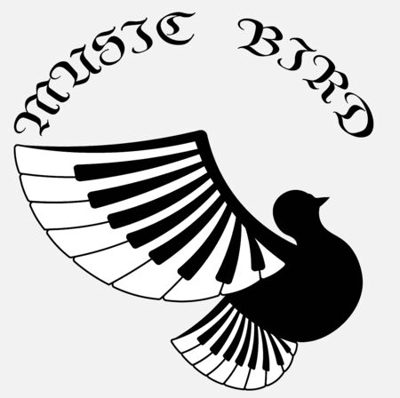 logo of classical music in the form of a bird with wings from piano keys Illustration