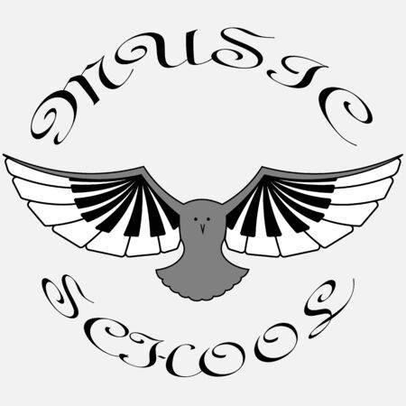 logo of classical music in the form of an owl with wings from piano keys
