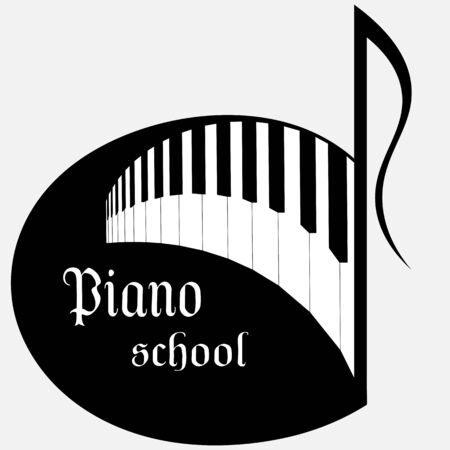 music school logo in the form of a note with piano keys