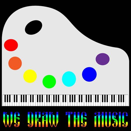 logo of music in the form of a piano and palette draw music Ilustração