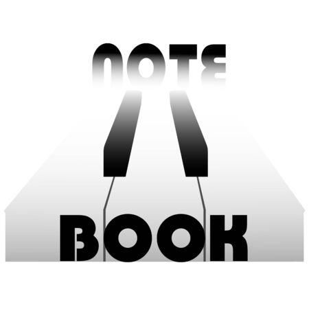 Notebook logo with piano keys and the inscription Standard-Bild - 133239309