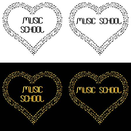 music school logo with heart-shaped frame made of musical notes Standard-Bild - 133239306