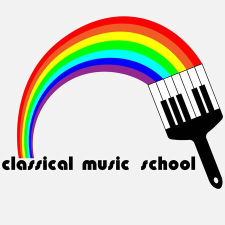logo of classical music from the rainbow and piano keys
