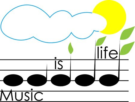 music is life from the notes of sprouts with leaves a cloud and the sun