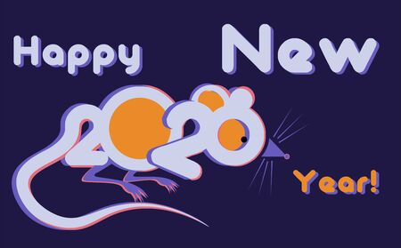 creative christmas with rat lettering and Happy New Year