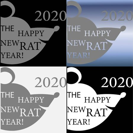 creative new year with a rat using negative space creative Illusztráció