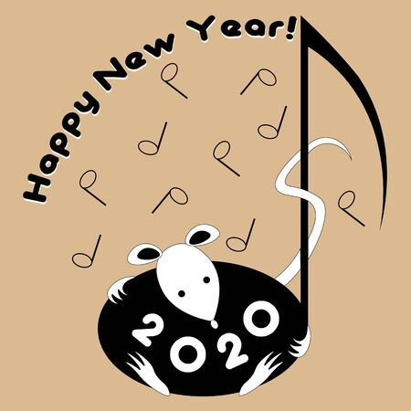 new year 2020 with notes and a rat using negative space happy new year greetings Illusztráció