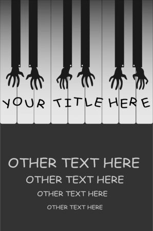 art poster with pianist hands and keys for concerts or competitions Illusztráció