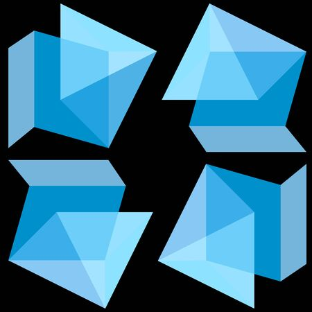 art abstract of parallelepipeds and a pyramid with translucent sides in the form of 3D