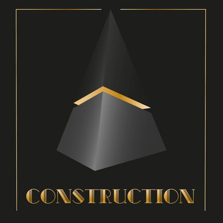art abstract 3d in the form of a black cut pyramid with art deco gold