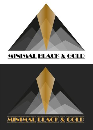 art abstract in the form of a pyramid of triangles of various shades of black with gold