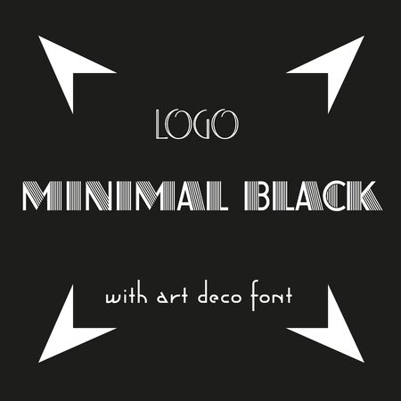 art minimal black with art deco font and the illusion of a square