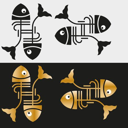 art minimal black  of two fish in art deco style and gold