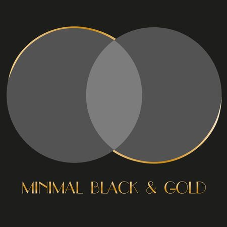 art minimal black logo two translucent circles with art deco overlay and gold
