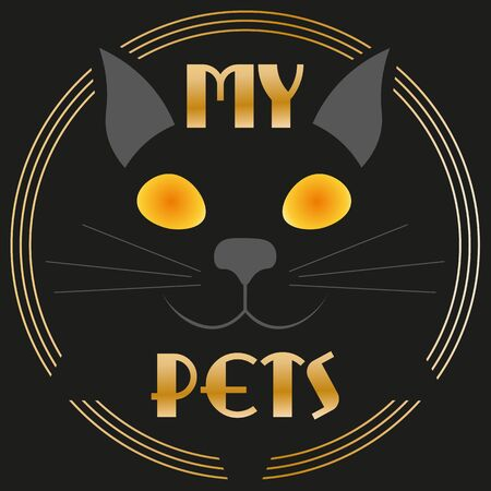 art minimal black logo cat pets in art deco style and gold Illusztráció