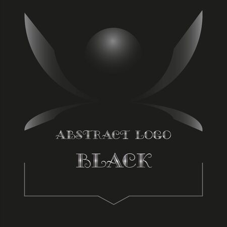 art minimal black  from abstract figures and a hemisphere with a gradient Illusztráció