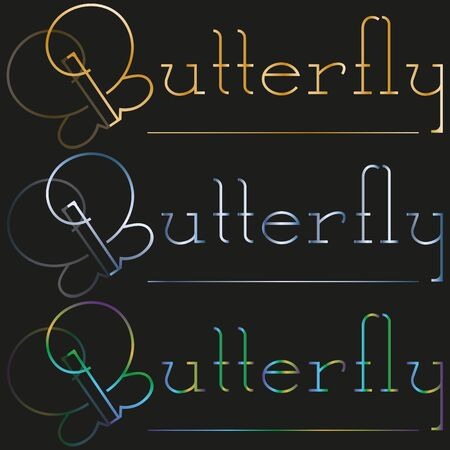 art set minimal black geometric logo of butterfly and gold lettering
