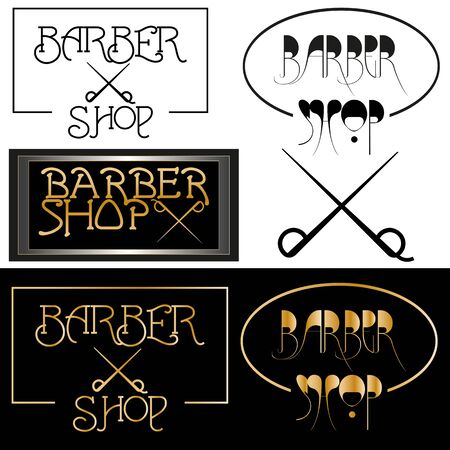 art Set minimalist black logo barber shop and gold lettering Stock fotó - 140907454