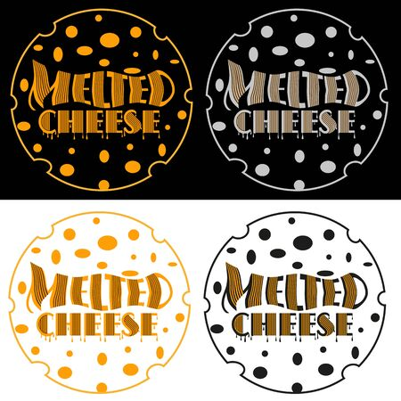 set art minimalist black melted cheese with a cheese head outline Ilustracja