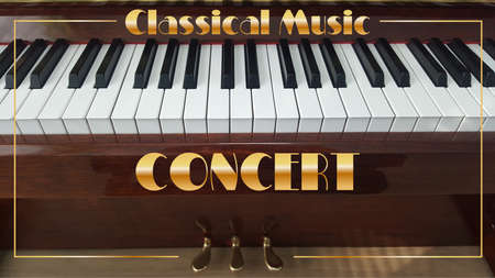 art design of a poster or brochure of a classical music concert with piano