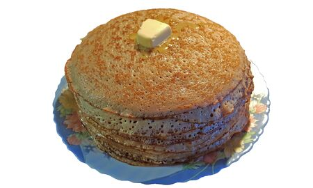 a lot of buckwheat pancakes with a slice of melting butter Stock fotó