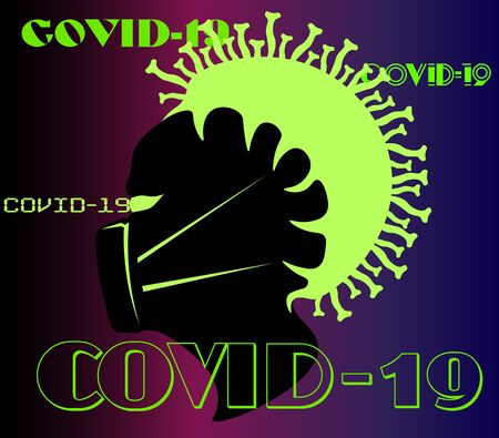 art minimal  of a coronavirus pandemic with a silhouette of a human head in a mask with the virus that captured it