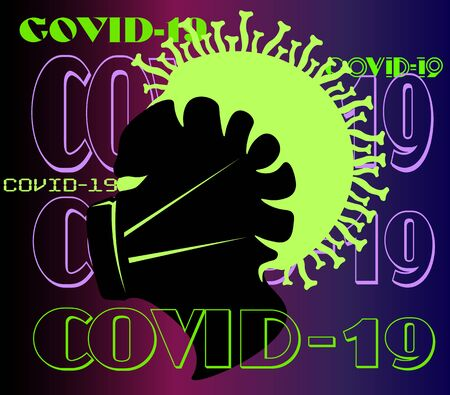 art minimal logo of a coronavirus pandemic with a silhouette of a human head in a mask with the virus that captured it