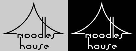 creative black minimal logo of asian cuisine noodle house 矢量图像
