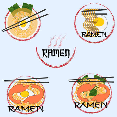 creative minimal ramen. egg shrimp seaweed shrimp and noodles