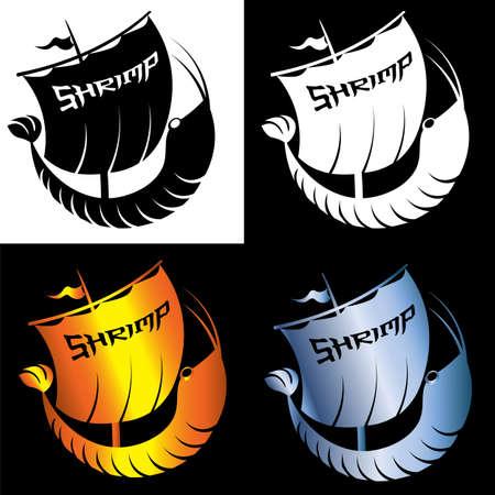 set of creative minimal logo shrimp in the form of a sailing ship