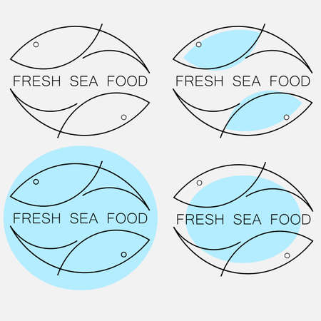 set of creative minimal fresh seafood  from fish outlines with the inscription