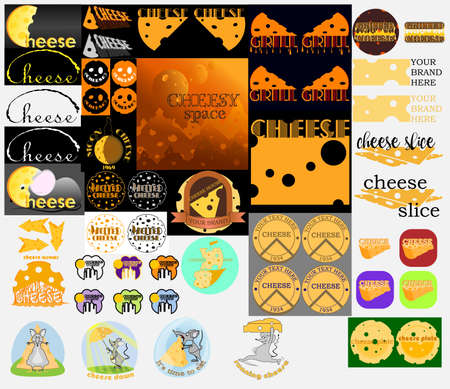 creative set of elements and illustrations on the theme of cheese