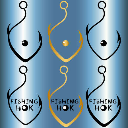 set of creative logos fish hook in the shape of a fish with and without inscription