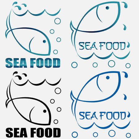 set of creative logos seafood from the contour of fish diving and jumping out of the water with the inscription