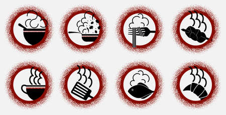 Art set of minimalistic logos of various dishes in the form of red and black signs Illusztráció