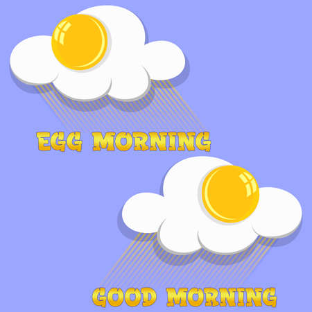 creative scrambled eggs breakfast logo with rays of light on blue background good morning or egg morning