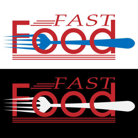 Creative fast food logo in the form of an inscription with a pierced fork in two versions