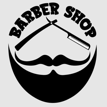 creative barber shop for men in the form of a beard face with a razor mustache and lettering Illusztráció
