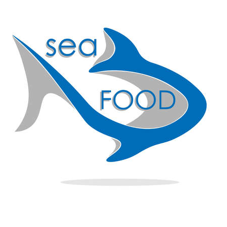 creative seafood logo in the form of an abstract silhouette of a fish with a shadow and an inscription Illusztráció