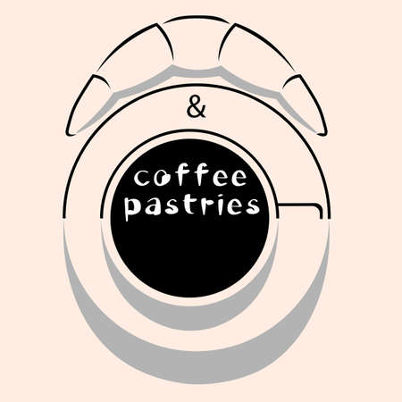 creative coffee and bakery logo made from silhouettes and shadows with lettering Illusztráció