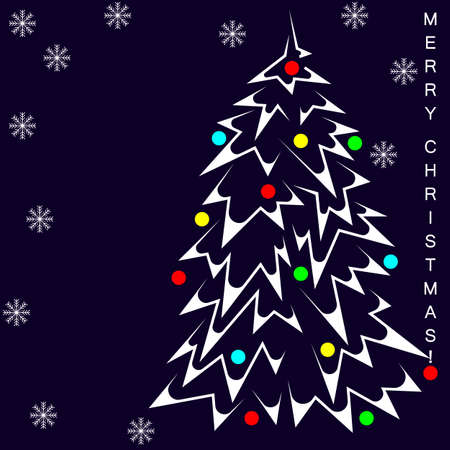 christmas tree with christmas balls and snowflakes merry christmas. abstract and minimalism 2