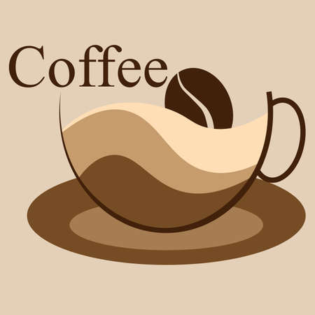 coffee logo cup and coffee beans abstraction and minimalism