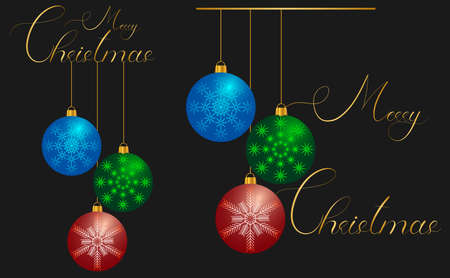 merry christmas greetings with colored christmas balls on golden threads and golden lettering 1 Illusztráció