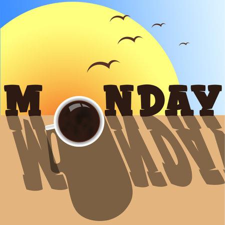 monday morning with a cup of coffee, sunrise, birds and shadows 1 Illusztráció