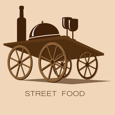 dish, wine and glasses on the cart table street food or cafe