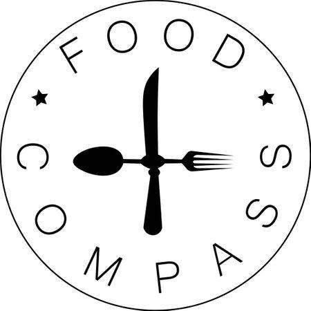 Food compass logo with spoon fork and knife arrow Illusztráció