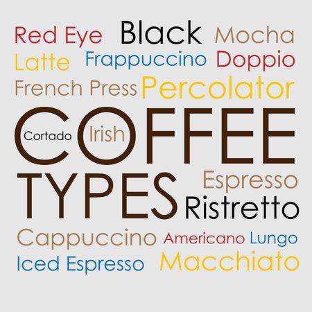The words of different types of coffee drinks Illusztráció