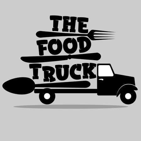 street food truck logo with spoon, fork and knife 2
