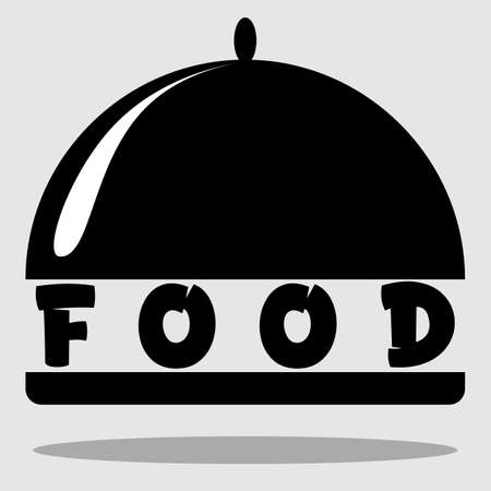 logo of food, restaurant, cafe black and white minimalism with a dish and an inscription 2